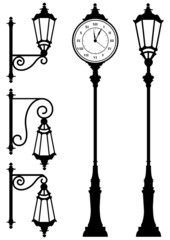 vintage lanterns and clock