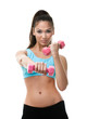 Sportive woman works out with pink dumbbells, isolated on white