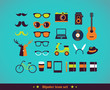 Hipster concept icon set