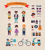 Hipster info graphic concept background with icons