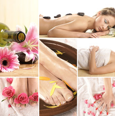 A collage of spa images with relaxing women, petals and stones