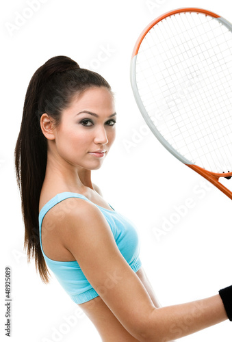 Portrait of female tennis player with racquet, isolated on white
