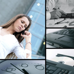 A business collage with a young woman talking on the phone