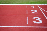 Running Track numbers one two three in stadium