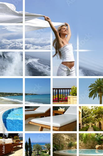 A collage of resort images with a young woman and palms