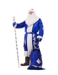 Father Christmas in blue costume isolated