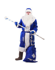 Father Christmas in blue costume