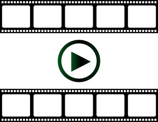 blank film strip with play button