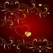Edler Liebesgruß mit Ornament in Gold und Rot