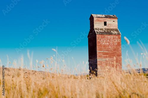 grain elevator with grass - Drumheller Alberta - LOMO - 48927439