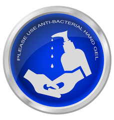 Anti bacterial hand gel button