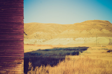 grain elevator shadow at sunset - Drumheller Alberta - LOMO