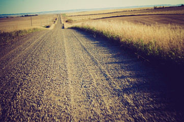 Gravel country road at sunset - Drumheller Alberta - LOMO