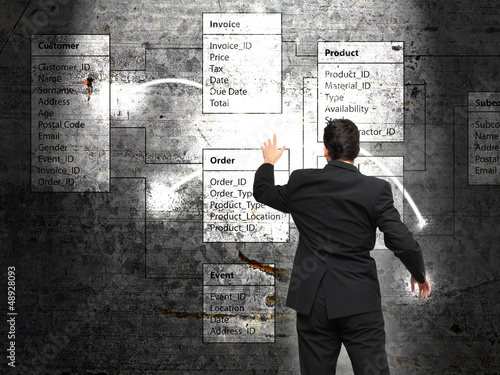 Database background with businessman