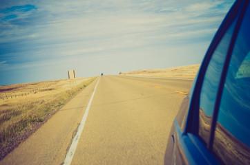 highway country road at sunset - Drumheller Alberta - LOMO