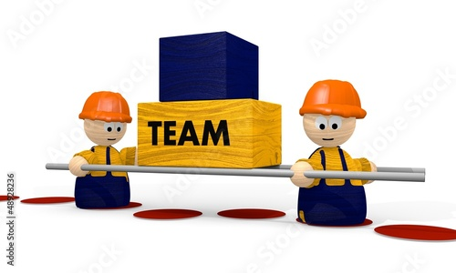 team work with cute builder 3d characters