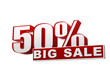 50 percentages big sale red white banner - letters and block