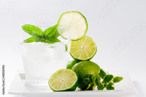 Limes, refreshing drink with ice, weight loss concept