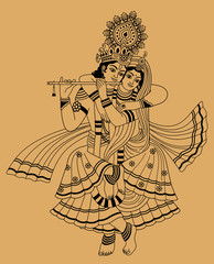 Krishna and his wife