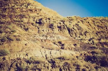 badlands hills at sunset - Drumheller Alberta - LOMO