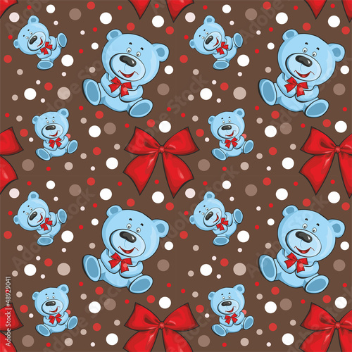 pattern with a bear on a brown background