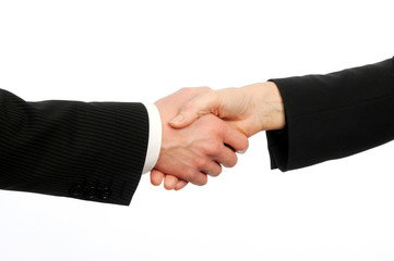 Male and female executives shake hands on deal