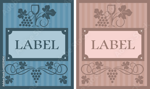 Wine labels in retro style