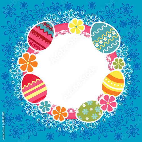 Easter frame with eggs and flowers