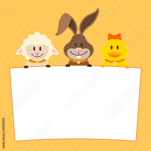 Card Lamb, Bunny & Duck Label Dots Orange