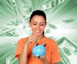 Jolie femme brune insérant une pièce de monnaie
