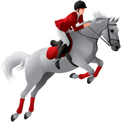 Equestrian sport girl on the white horse