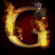 G, fire letter illustration