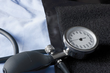 sphygmomanometer placed on cuff prepared to be used