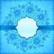 Blue flowers ornate vector background with ribbon and label