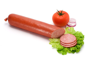 Salami stick and slices