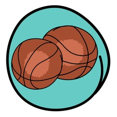 Two Brown Basketballs on Blue Round Background