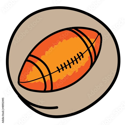 An American Football on Green Round Background