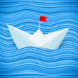 Vector paper sailing boat in blue waves of paper sea