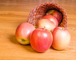 Red apples in a cornucopia