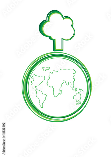 World and tree vector cartoon