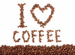 I love coffee - beans text on white