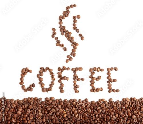 Fotobehang Koffiebonen coffee beans text