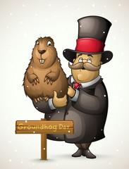 Marmot and man on Groundhog Day