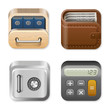 Finance Icons set: Drawer, Wallet, Vault, Calculator. Vector.