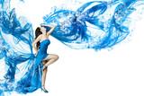Fototapety Woman dance in blue water dress dissolving in splash. Isolated w