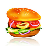 Hamburger with tomato, lettuce, onion and meat