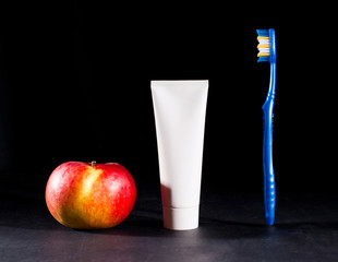 Toiletries and apple