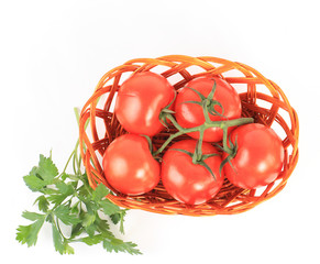 tomato vegetables and parsley leaves still