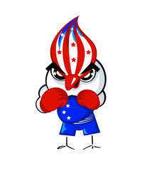 Patriotic boxing bird in USA national flag colors