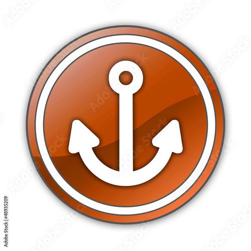 "Orange Glossy Button ""Marina"""